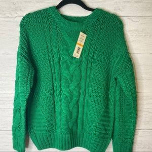 One A NWT petite chunky cable knit sweater
